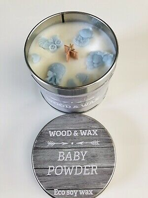 Baby Shower/ New Mum Gift For Baby  Boy  / Scented Baby Powder Wood Wick Candle