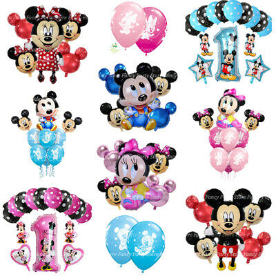 Disney Mickey Minnie Mouse Birthday Balloons Foil Latex 1st Birthday Baby Shower