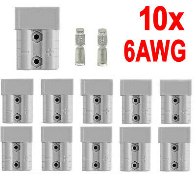 10x Anderson Style Plug Connectors DC Power 50 AMP 12-24V 6AWG