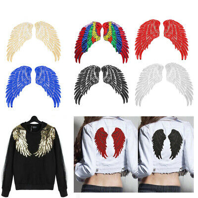 Motif Crystal Applique 3D Feather Angel Wings Sequin Patches Sew on Patch
