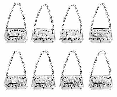 Liquor Decanter Tags, 8PCS Liquor Tags for Bottles/Decanters with Chain-SILVER