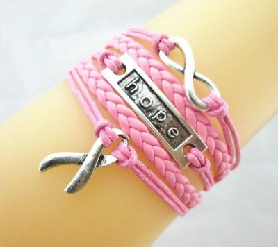 Fashion Infinity Hope Ribbon Charms Leather Braided Bracelet Wristband Gifts New