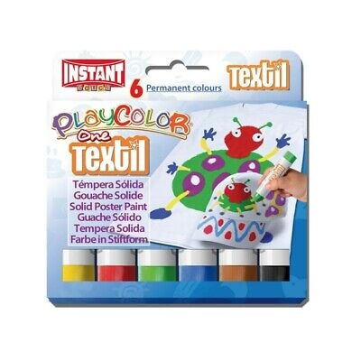 Playcolor 10401 - Tempera Solida Textil One 10G 6 Colores
