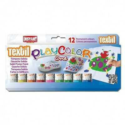 Playcolor 10461 - Tempera Solida Textil One 10G 12 Colores