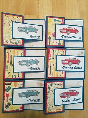 Lot of 6 Car Themed Geared Up Garage Birthday cards made w/Stampin Up supplies