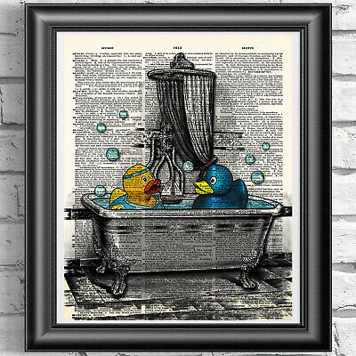 Rubber Ducks Art Print on Dictionary Book Page Wall Art Bathroom Decor Picture
