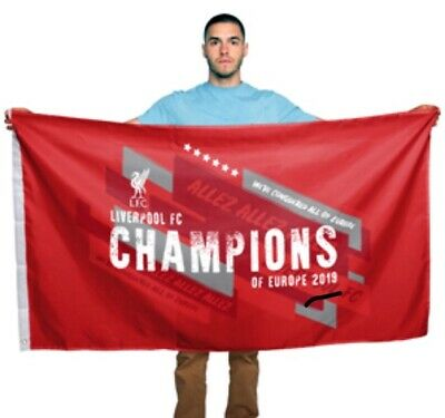 Official Liverpool Fc Champions Of Europe 2019 Flag 5x3ft FREE POSTAGE TO UK