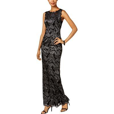 26e52dca31456c Adrianna Papell Womens Black Lace Two-Tone Formal Evening Dress Gown 4 BHFO  2305