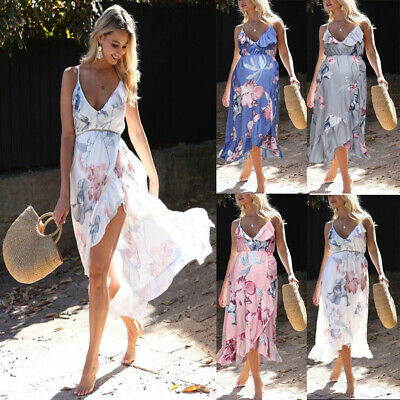 Womens Maternity Dress Casual V Neck Chiffon Floral Daily Party Beach Dress