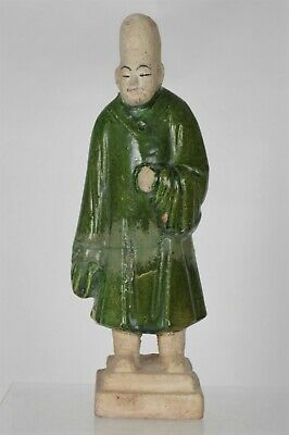 Fine Antique Chinese Ming Dynasty Green Glaze Pottery Figure (25.5cm)