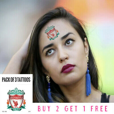 Temporary Tattoo,Liverpool,Premier League,Football Club Badge,Pack Of 3 Stickers