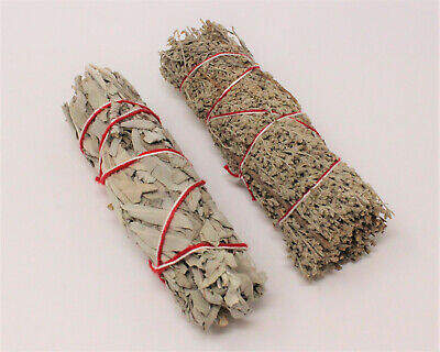 2 Pack White Sage & Blue Sage Smudge Sticks (House Cleansing, Smudge Bundle)