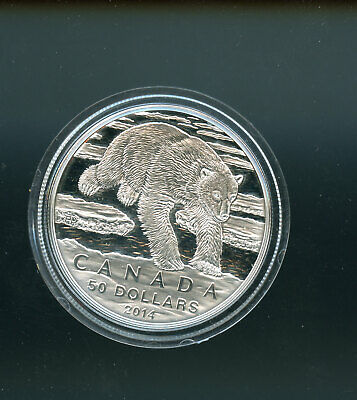 Canada 2014 $50 for $50 Iconic Polar Bear - Pure Silver Coin A17