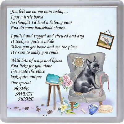"""French Bulldog Coaster """"HOME SWEET HOME Poem ..."""" Novelty Gift by Starprint"""