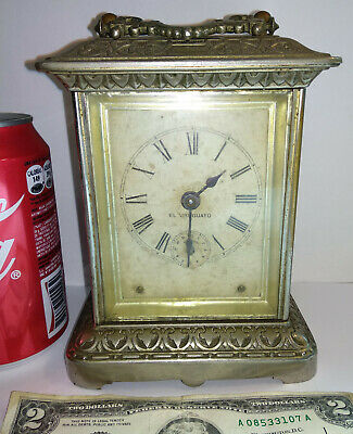 "Antique rare 1904 Nickel Finish Ansonia ""Carriage Extra"" Clock for parts Uruguay"