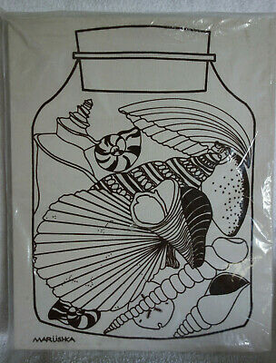 Vtg MARUSHKA Seashells Shell Stretched Fabric Screen Print Mid Century Pop Art