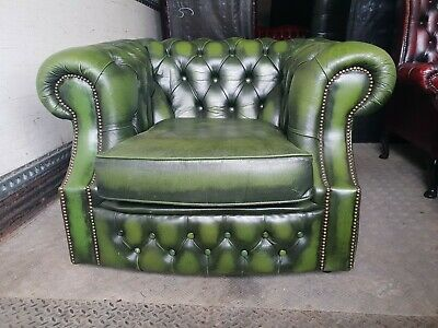Antique Green Leather Chesterfield Club Chair
