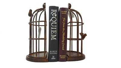 Pair of Rustic Metal Bird Cage Bookend, book ends gift, vintage style finish