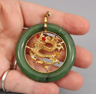 Large Vintage Chinese Carved 10K Gold Dragon & Green Jade Necklace Pendant, NR