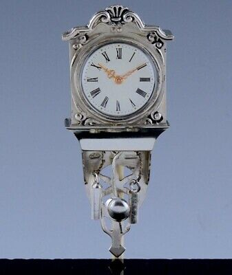 AMAZING c1960 DUTCH 834 SOLID SILVER DOLL HOUSE MINIATURE GRANDFATHER WALL CLOCK