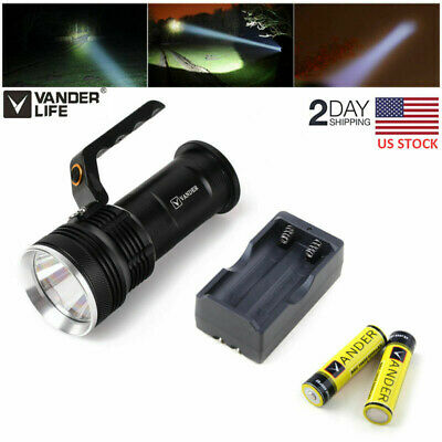 20000LM LED Flashlight Torch Outdoor Light Lamp+2pcs 6000mAh Batteriey +Charger