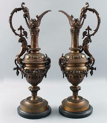 Antique 19thC Victorian Bronze & Marble Mantle Ewers Gothic Dragons & Lions