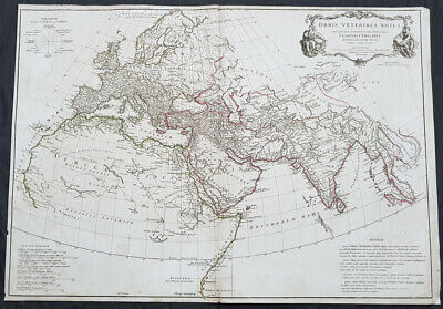 1763 D Anville Large Antique Map of The Ancient World of Ptolemy Britain to Siam