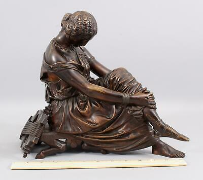 19thC SAPPHO Antique JEAN PRADIER French Bronze Sculpture Classical Seated Woman