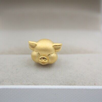 Real 999 Real 24K 3D Yellow Gold Pendant Lady Women Zodiac Luck Pig Year Bead
