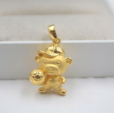 Real 999 Real 24K 3D Yellow Gold Pendant Lady Women Baby Bear FootBall 2.2-2.3g