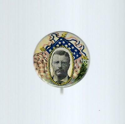 1904 TEDDY ROOSEVELT r/w/b FLAG DESIGN PICTURE CAMPAIGN BUTTON