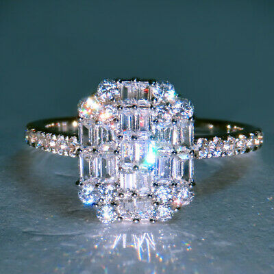 1Ct 100% Natural Diamond 14K White Gold Cocktail Ring EFFECT 3Ct RWG168
