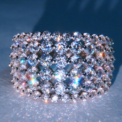 3Ct 100% Natural Diamond 14K White Gold Cluster Ring EFFECT 6Ct RWG211