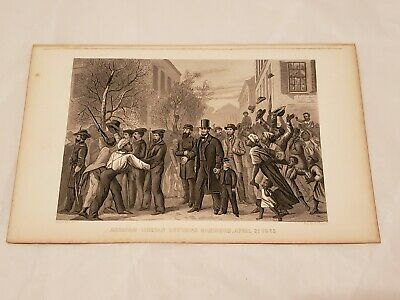 CR46) Abraham Lincoln Entering Richmond Civil War 1885 Engraving