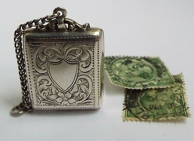 Lovely Rare English Antique 1914 Sterling Silver Chatelaine Stamp Case Holder