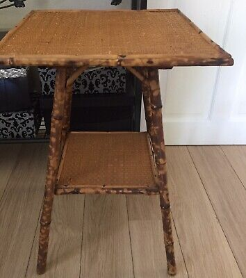 2 Antique Bamboo Tables Oriental Victorian, Lamp, Side, Occasional, Circa 1890
