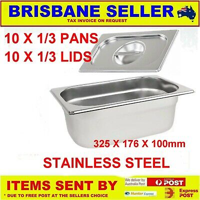 10 X 1/3 Gn Pans Bain Marie Pans Stainless Steel 100Mm With Lids ** See Delivery