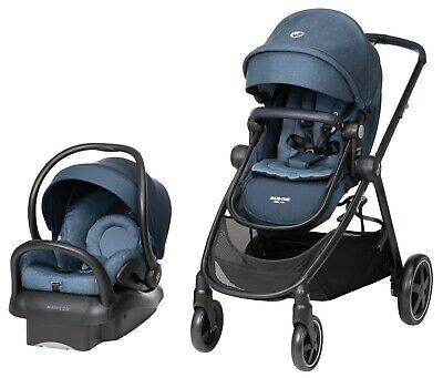 Maxi Cosi Zelia Travel System Stroller w Mico Max 30 Infant Car Seat Nomad Blue