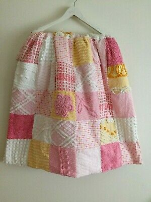VINTAGE CHENILLE PATCHWORK COT QUILT * GORGEOUS * newly made