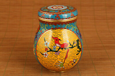 Copper Cloisonne Hand Painting Collect Statue woodpecker Box Pot tea caddy