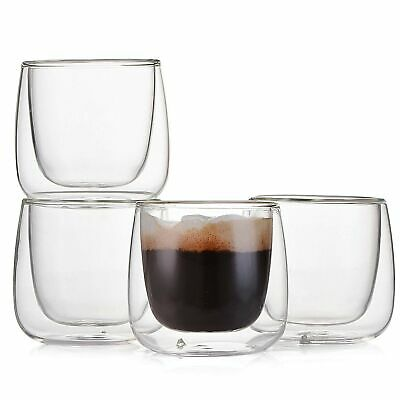 7a648498822 Espresso Cups Shot Glass Coffee Set of 4 - Double Wall Thermo Insulated  Glass.