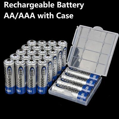 2-10pcs AA/AAA 1.2V 3000mAh 1000mAh Ni-MH BTY cell Rechargeable Battery Case