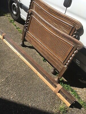 Gorgeous Antique French Carved Solid Oak Single Breton Bed Ideal 4 Painting