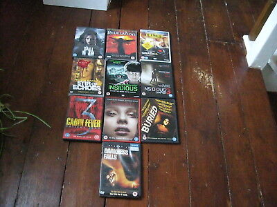 Job Lot Of 10 Horror Dvds Darkness Falls, Buried, Insidious 1&3, Stir Of Echoes