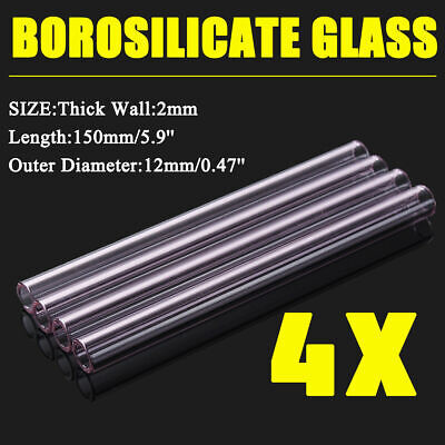 4PCS Thick Wall Borosilicate Glass Pink Blowing Tubing Tube 150mm OD-12mm 2mm