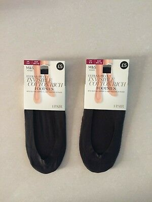 2 X Pairs of Marks & Spencer Ultra Low Cut Invisible Footsies  Size 6-8
