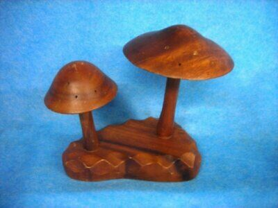 70's Mid Century hand carved wooden mushrooms toothpick hors holder Fairy pod