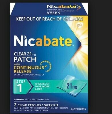 2x box Nicabate clear 21mg Patch, 7 clear patches 1 week kit.
