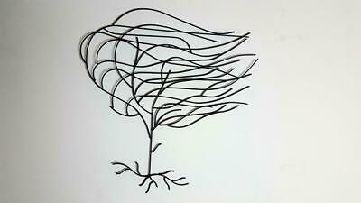 Metal Willow Tree Wall Art, windy tree wall hanging, black tree wall decoration