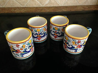 Deruta RICCO Italian Pottery Coffee Mug Coffee Cup ITALY - Set of 4